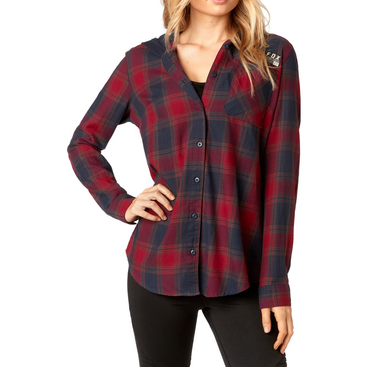 Fox Racing Women's Deny Flannel L/S Shirts,Small,Dark Red
