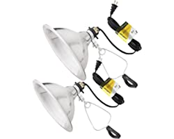 Simple Deluxe Brooder and Heat Clamp Lamp Light 2 Pack with 8.5 Inch Aluminum Reflector 150W with 6 Feet Cord UL Listed