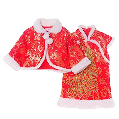 c932bf4d1 Amazon.com: Timall Chinese Clothes Baby Girl Dress Winter Cheongsam Tang  Suit Cheongsam Cotton Cloak Shawl New Year Costume Performance: Clothing