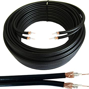 100 m Twin Coaxial de 2 x WF65 Fino Negro Cable-Shotgun Satellite/Antena Sky Plus/HD, Freesat – Tambor