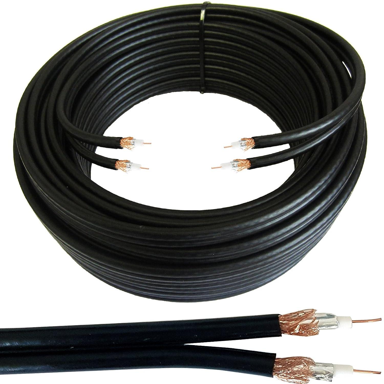 Cablefinder 25 m Twin 2 x WF65 Cable COAXIAL Negro Delgado ...