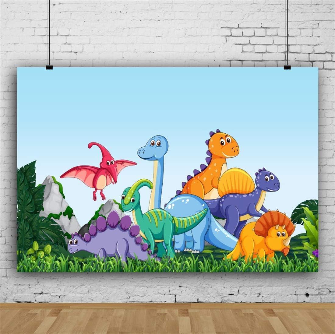 Yeele 10x8ft Happy Birthday Photography Background Cartoon Dinosaur Pterosaur Stegosaurus Grassland Birthday Party Decoration Baby Photo Backdrop Studio Props Video Drape