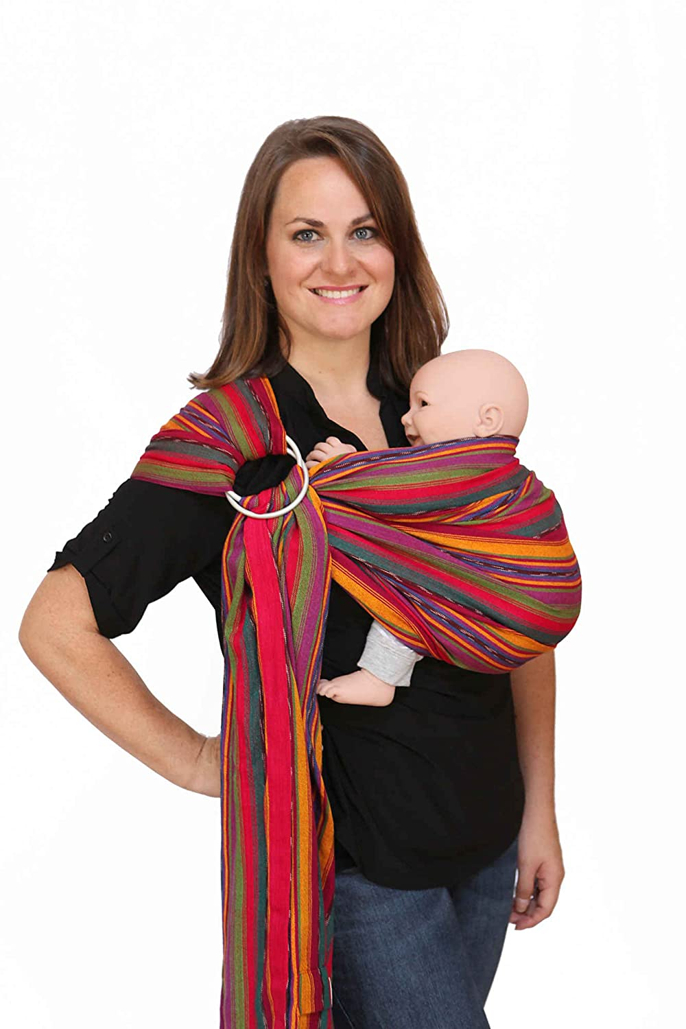 34c02b9f04d Amazon.com   Maya Wrap Lightly Padded Ring Sling Baby Carrier - Bright  Stripes - Medium   Child Carrier Slings   Baby