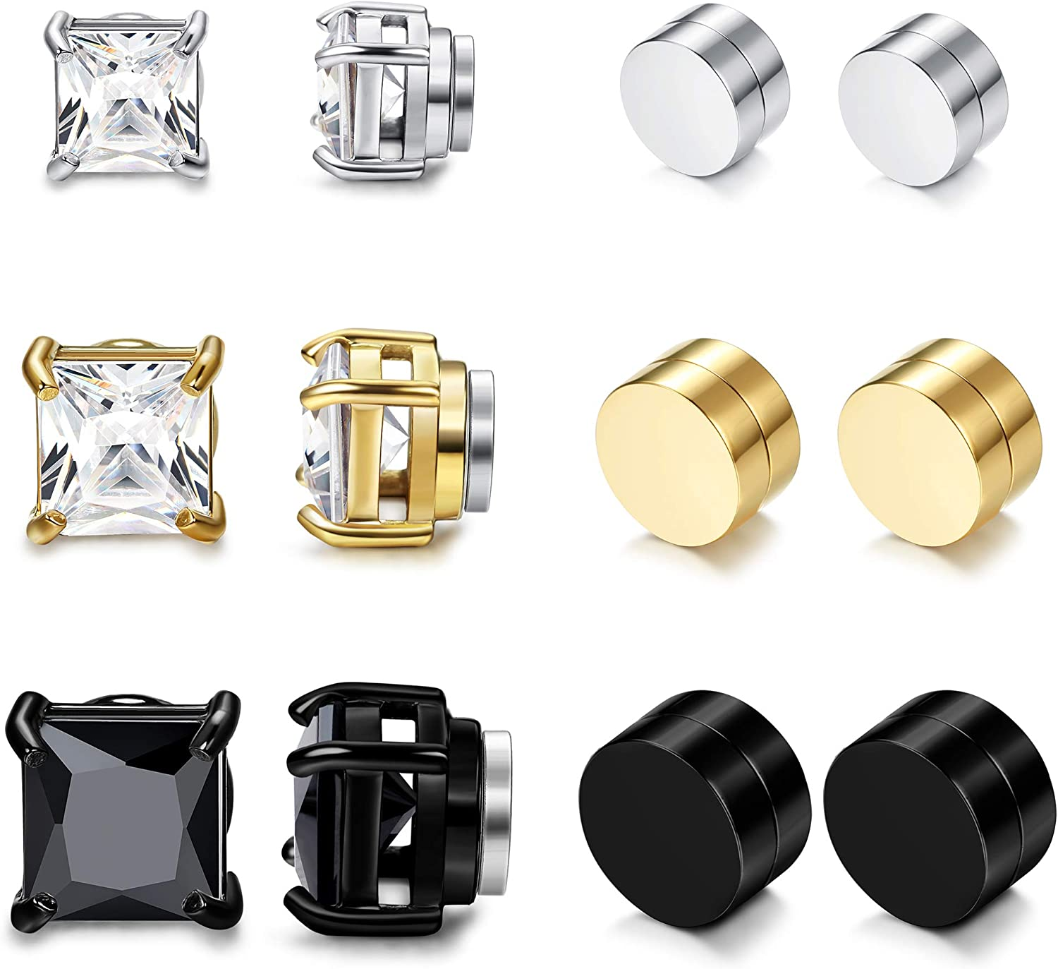 Jstyle 6 Pairs Stainless Steel Mens Womens Magnetic Earrings CZ Earrings Clip On CZ Non-Pierced 6/8/10mm