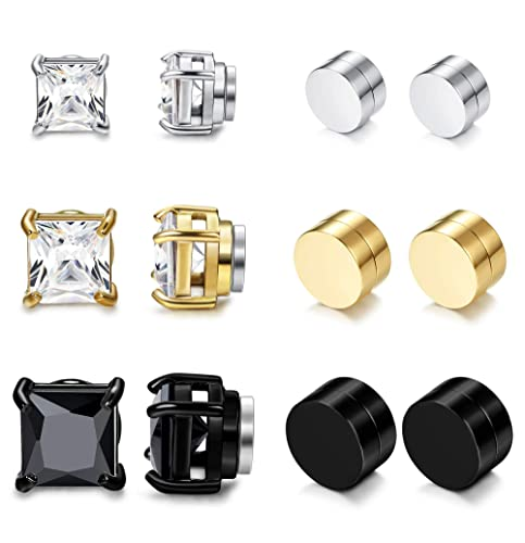 aa782c6734272 Jstyle 3-6 Pairs Stainless Steel Mens Womens Hoop Earrings Clip On CZ  Non-Piercing