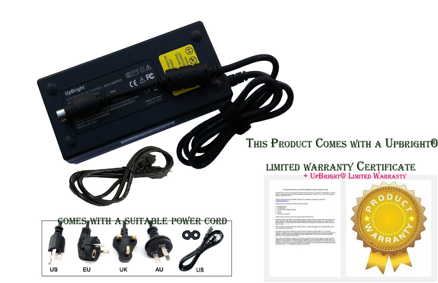 UpBright NEW Global 4-Pin DIN AC / DC Adapter For Thrustmaster T500 RS T 500 Driving Racing Gaming Steering Wheel T500RS T 500RS 4169056 Power Supply Cord Cable PS Charger Mains PSU