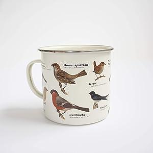 Gift Republic Garden Birds Enamel Mug, Multicolor