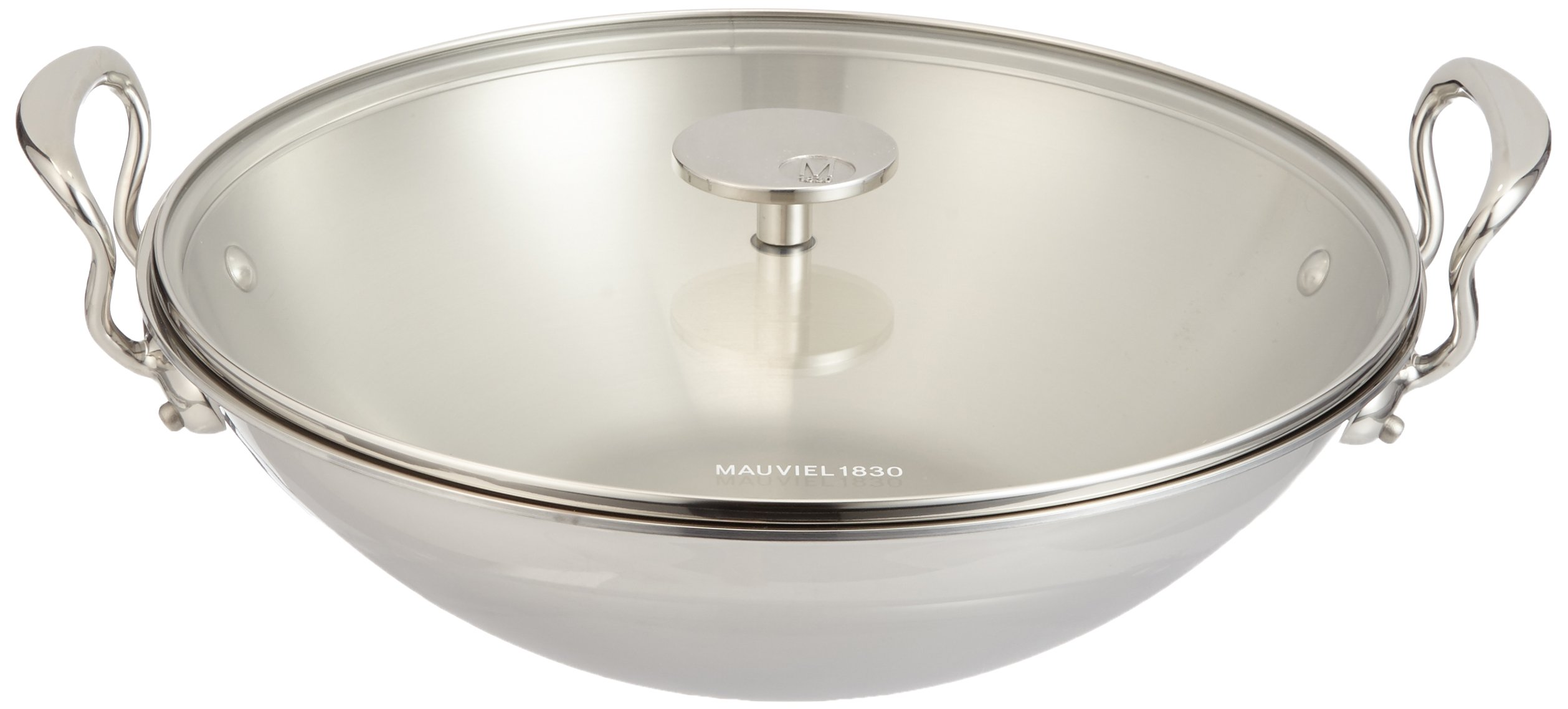 Mauviel Made In France M'Cook 5 Ply Stainless Steel 5225.32 13.25 Inch Wok with Cast Stainless Steel Helper Handle