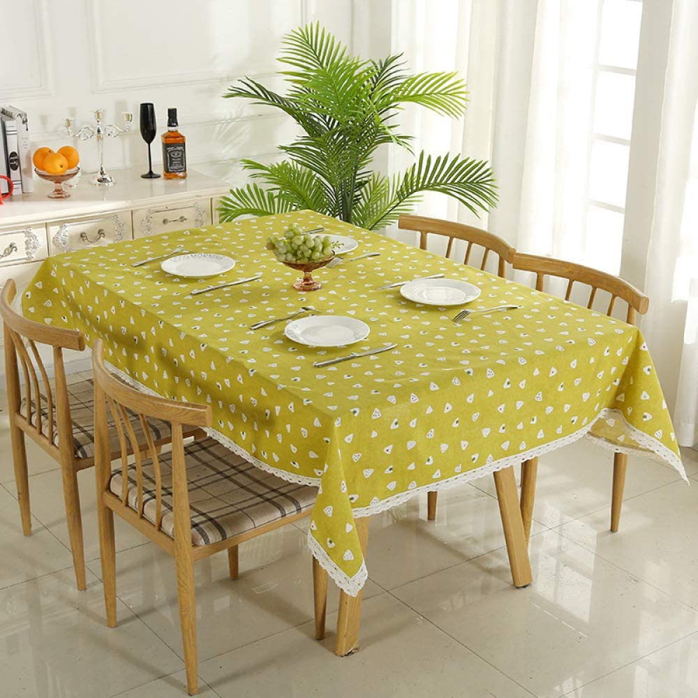 YATING Mantel Rectangular Lavable Mesa de Comedor de diseño para Mesa de Cocina o Sala de estarBola de arroz Estilo algodón Lienzo Mantel Amarillo pequeña Bola de arroz 100 * 140 cm: