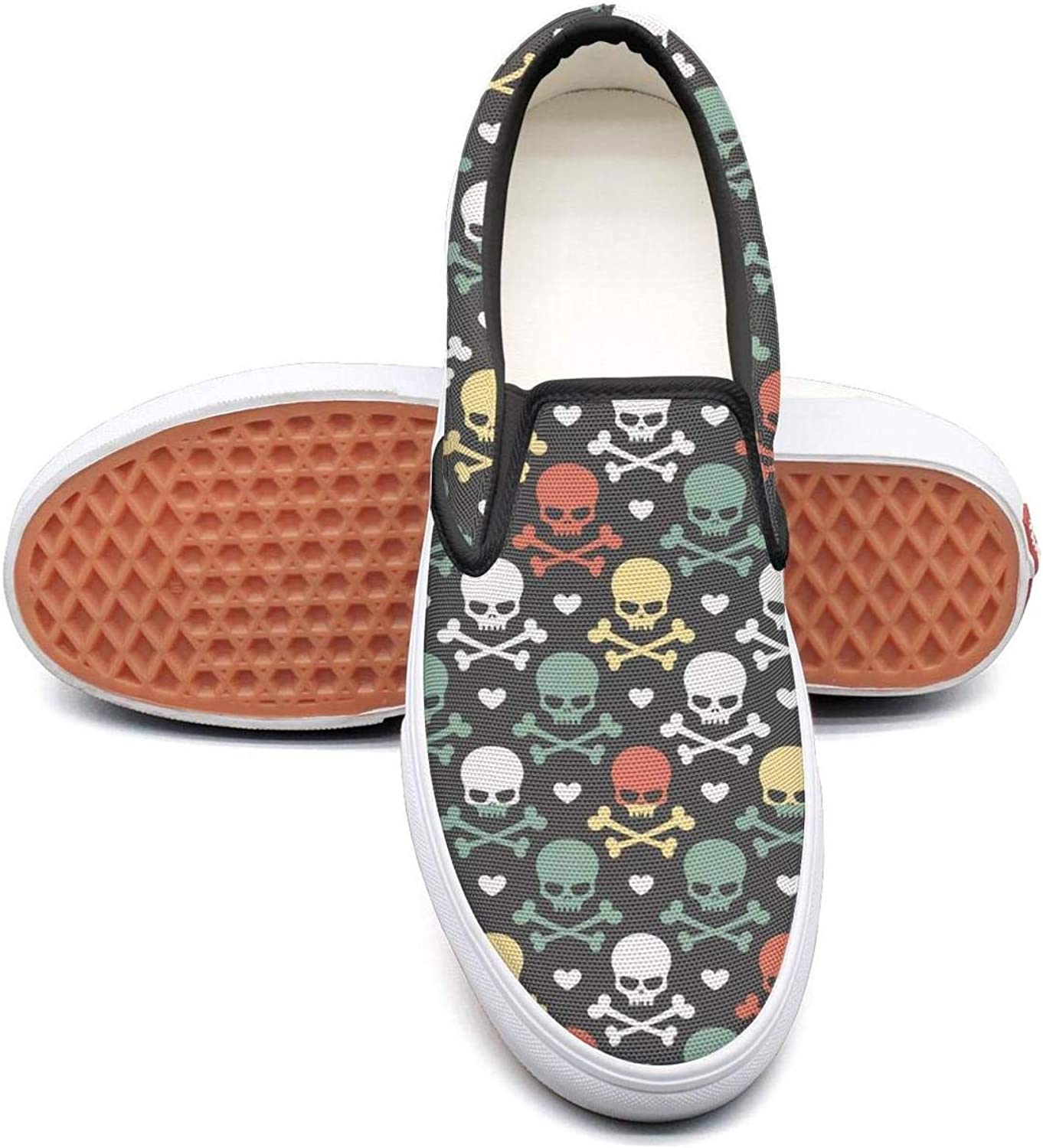 Skulls and Crossed Bones Slip On Canvas Upper Sneakers Painted Canvas Shoes Casual Shoe for Women Round Toe