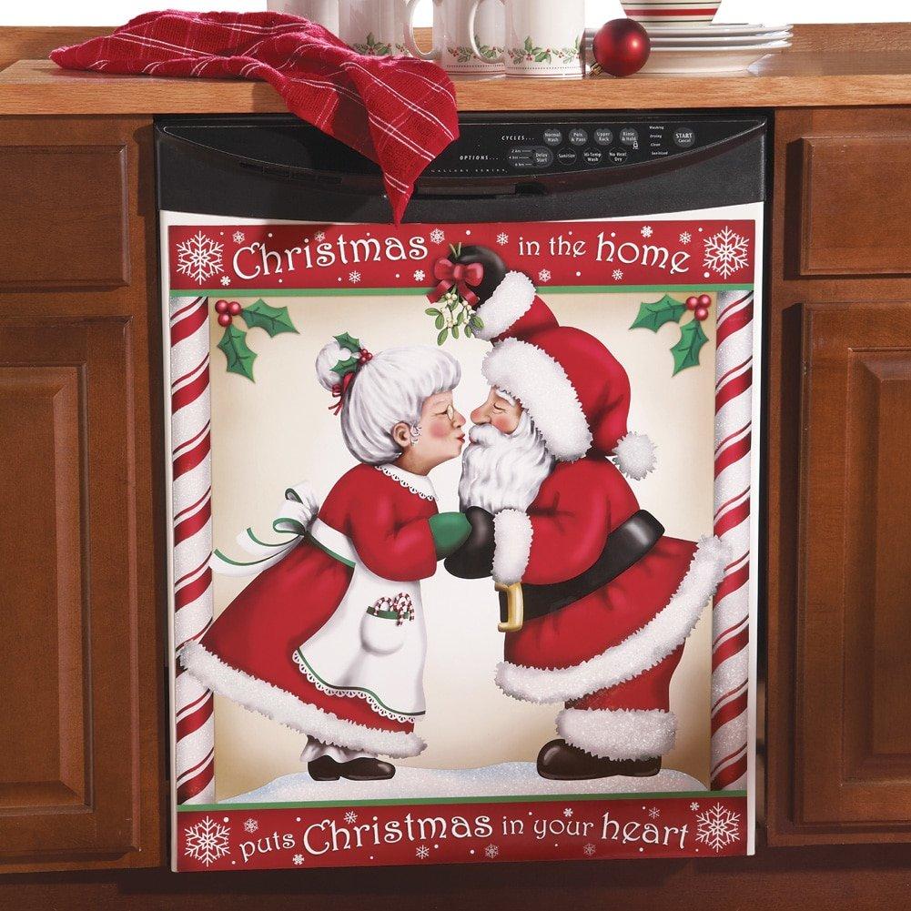 Kissing Santa Christmas Kitchen Dishwasher Cover Large 6