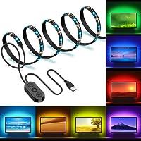 Ruban à LED RGB Pour HDTV, Minger 2M Rétroéclairage TV Bande Led USB 5050 Etanche Flexible Lumineux avec un Contrôleur, Bande Lumineuse Led Multicolore Décoration pour TV, Bureau, Miroir, Ordinateur, etc.