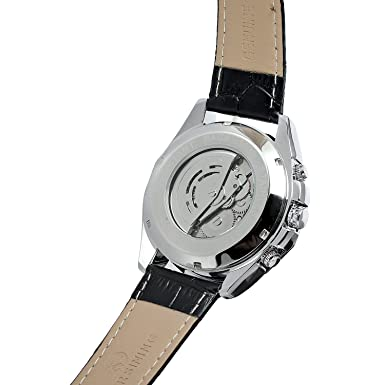 Amazon.com: FORSINING Mens Skeleton Mechanical Watch Reloj Automatic Movtment Male Clock with Genuine Leather Strap: Watches