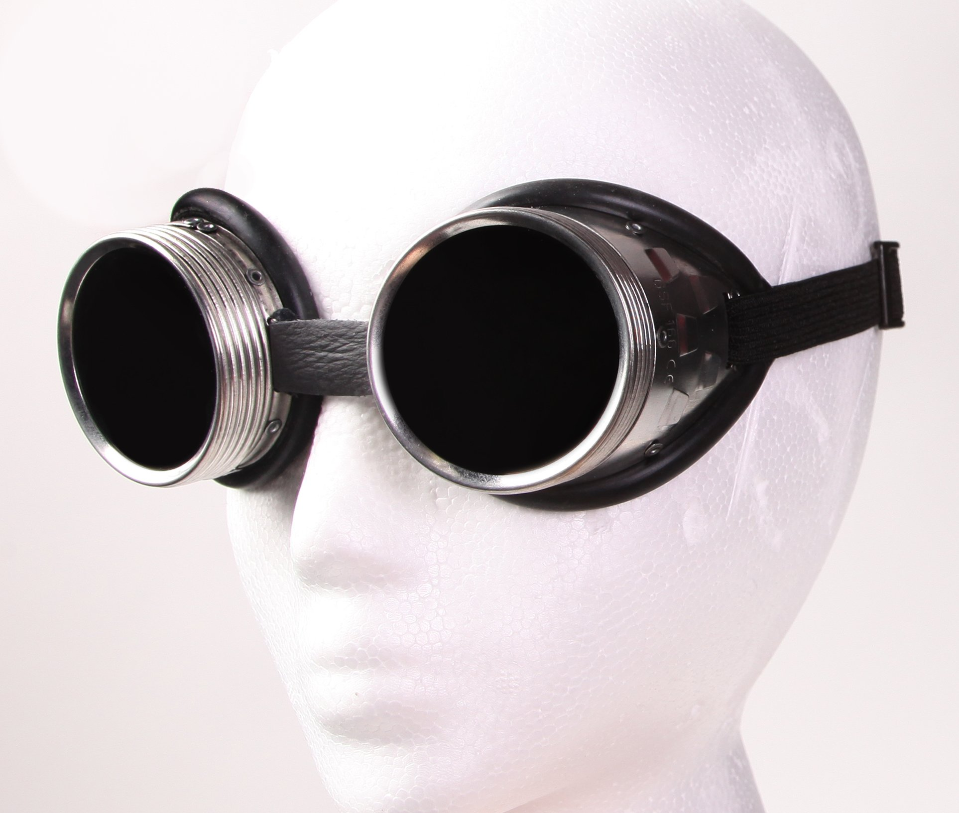 Steampunk Metal Welding Goggles - Dark Tinted Glass Lens with Aluminum Metal and Rubber Lining