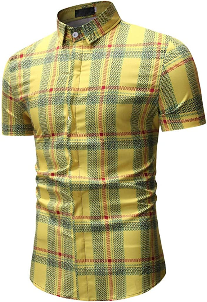 Spring Fashion Printed Short Sleeve Slim Shirts Tops Blouse Charberry Mens Casual T-Shirt