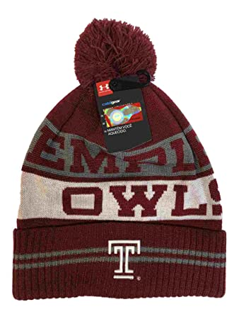 free shipping f4c36 785b5 ... inexpensive temple owls under armour dark red sideline pom pom beanie hat  cap 93105 bd598