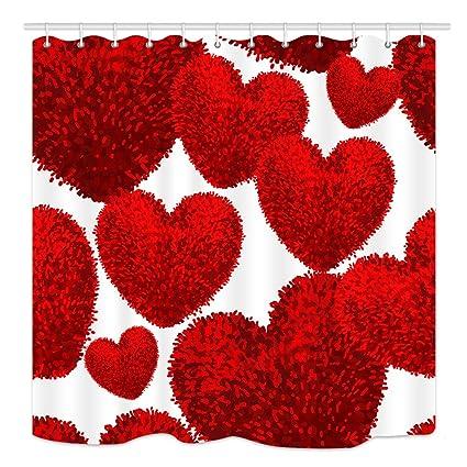 Amazoncom Kotom 3d Red Heart Shape Shower Curtain