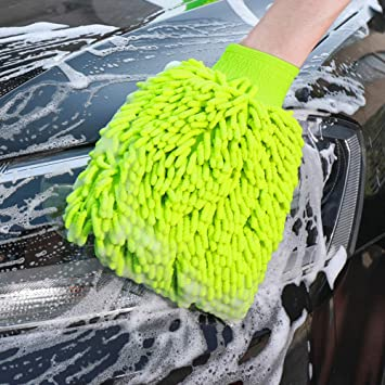 YUNPICAR 2 Pack Car Wash Mitt Extra Large Size Clean Tools Kits Premium Chenille Microfiber Winter Cleaning Mitts Premium Cyclone Microfiber Washing Gloves with Lint Free /& Scratch Free Yellow