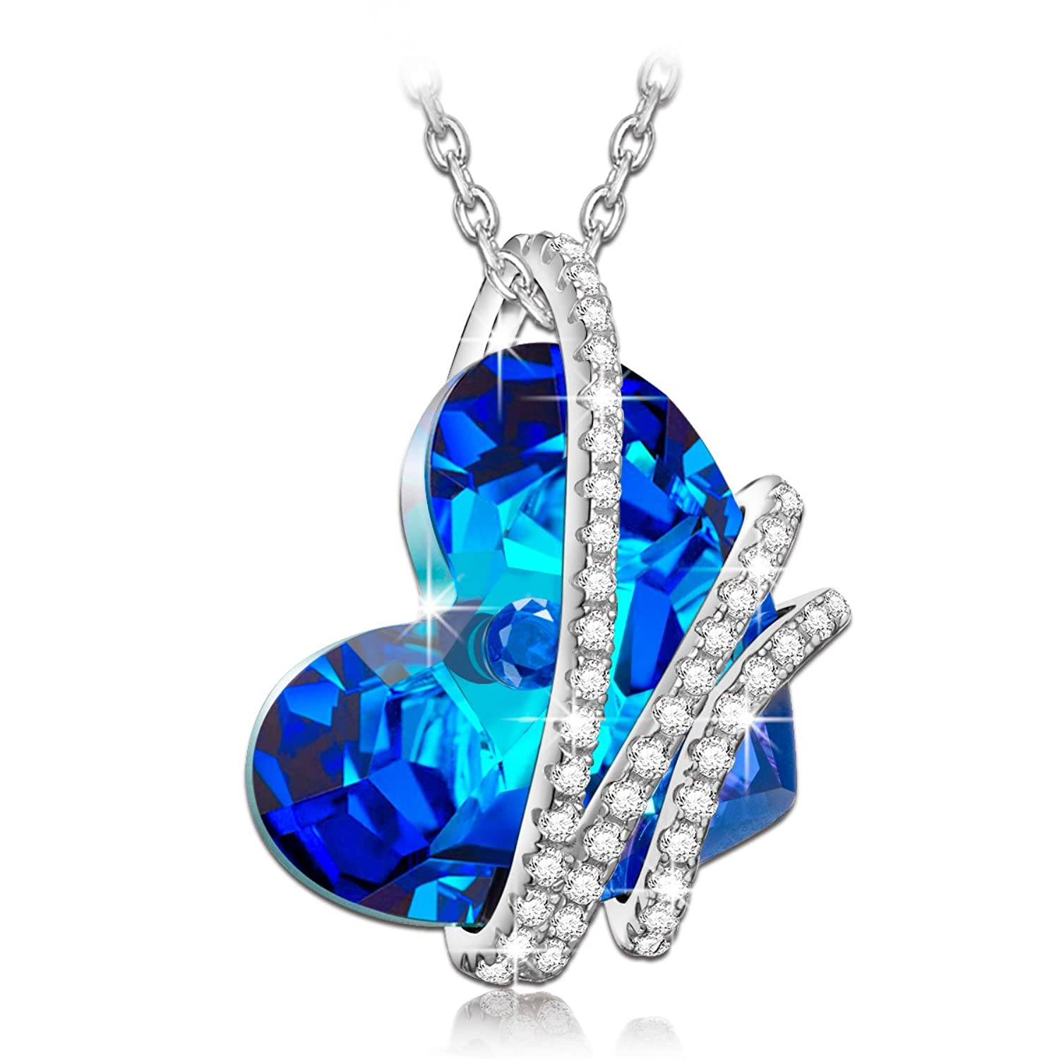 """NinaQueen """"Heart Of the Ocean"""" 925 Sterling Silver Blue Heart Pendant Necklace Made with Swarovski Crystals"""