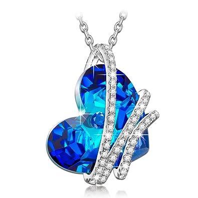 Heart Earrings Valentine's Day Gifts for Woman with Swarovski Crystal Birthstone Jewellery Ocean Blue 0JaTCatbev