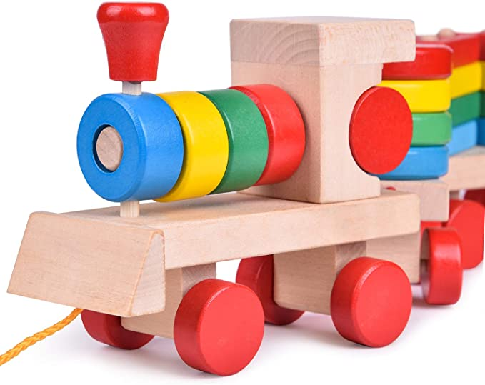Pull Toys for Toddlers Toddlers Puzzle Toys FunLittleToy 15.5 Inches Wooden Stacking Toys Train with Shape Sorter and Stacking Blocks Preschool Educational Toys