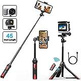 Selfie Stick Stativ, Bovon 106CM Selfiestick Bluetooth Ausfahrbare Selfie-Stange mit Bluetooth-Fernauslöser, Einbein-Stative für iPhone Xs Max/Xs/Xr/X, Galaxy S9 Plus/S8, Gopro Action Kamera(Schwarz)
