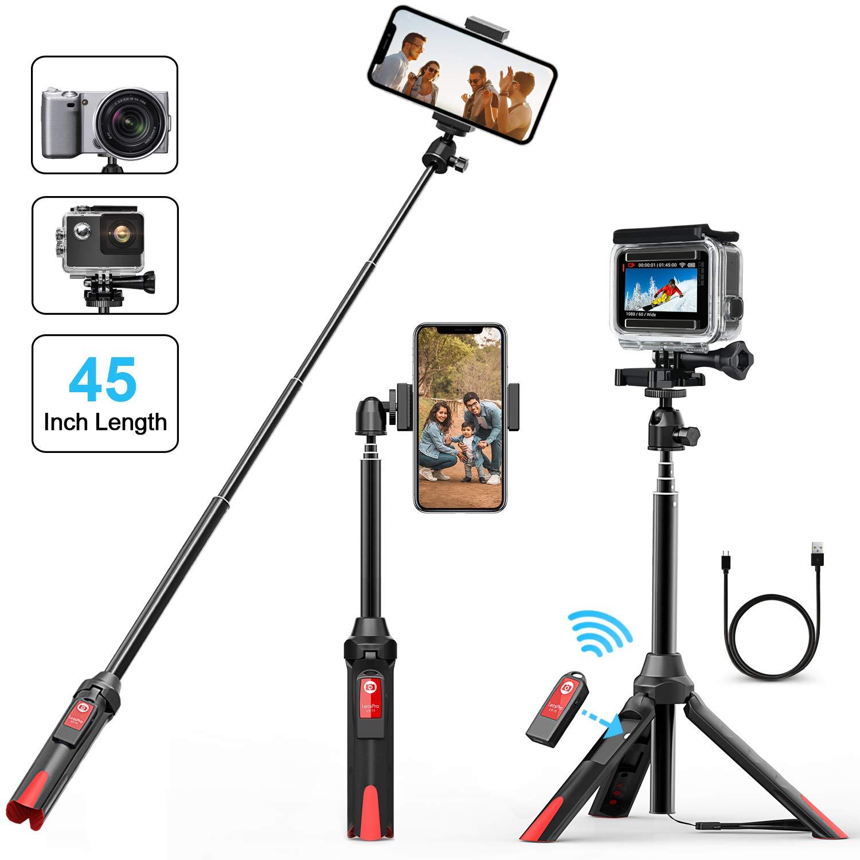 Palo Selfie, Bovon 106CM Palo Selfie Bluetooth Extensible con Trí pode y Control Remoto Separado, Selfie Stick Monopod para iPhone XS Max XR 8 7 Plus 6S Plus, Galaxy S9 Plus Note 9, Cá maras GoPro Cámaras GoPro Selfie Stick-Extension
