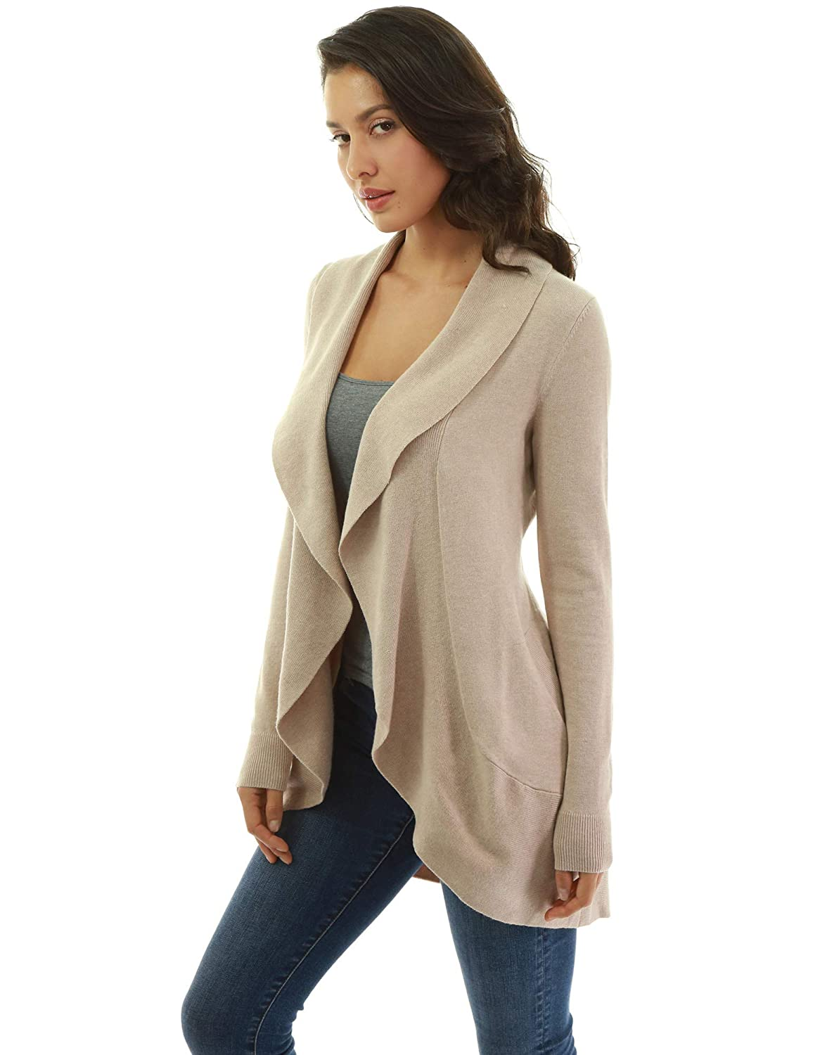 PattyBoutik Donne Cardigan Tascabile con Collo Sciallato