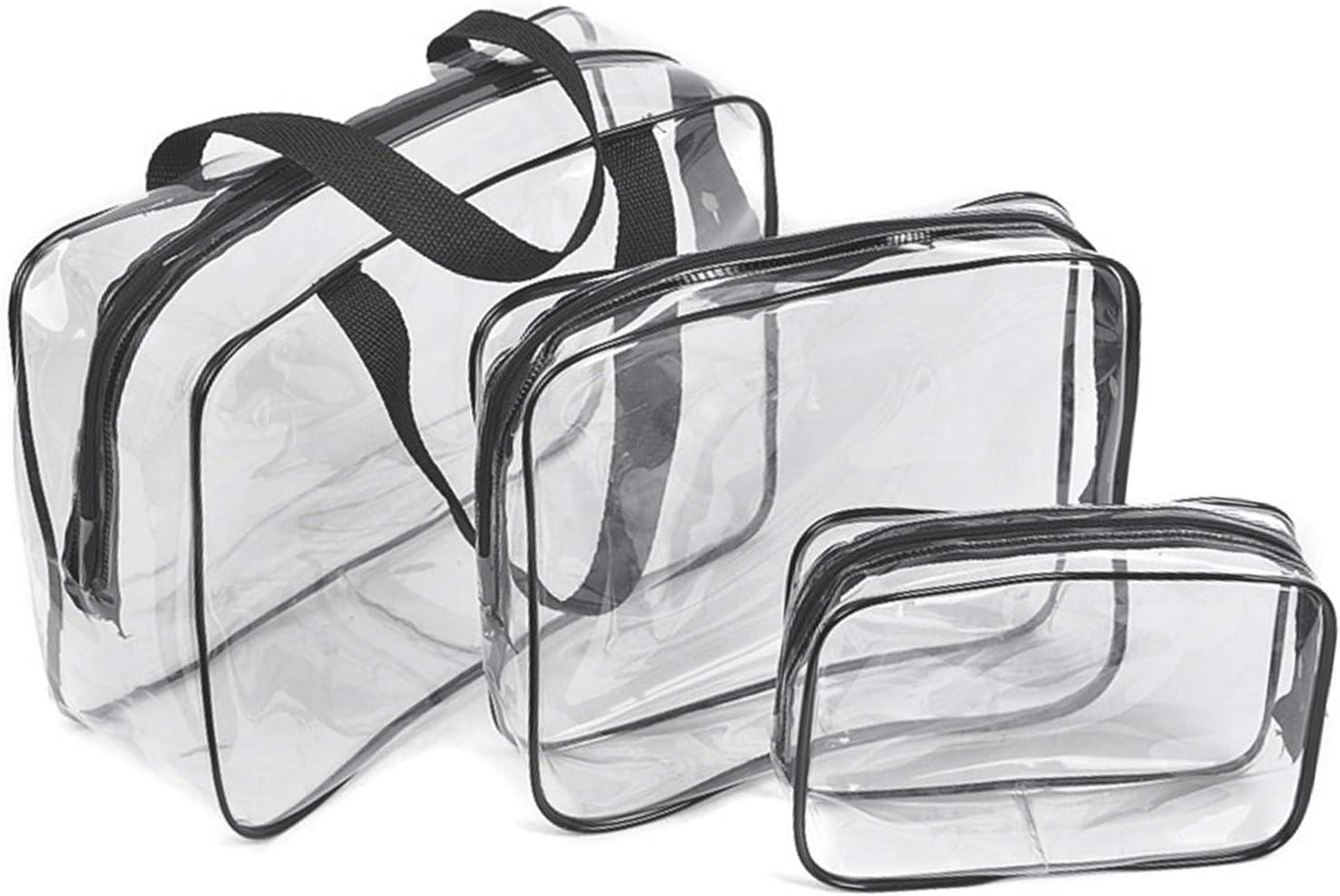 3 Pcs Bolsas de Aseo Transparente, Viaje Impermeable Mujer Bolsa de Cosmético Organizador de Viaje