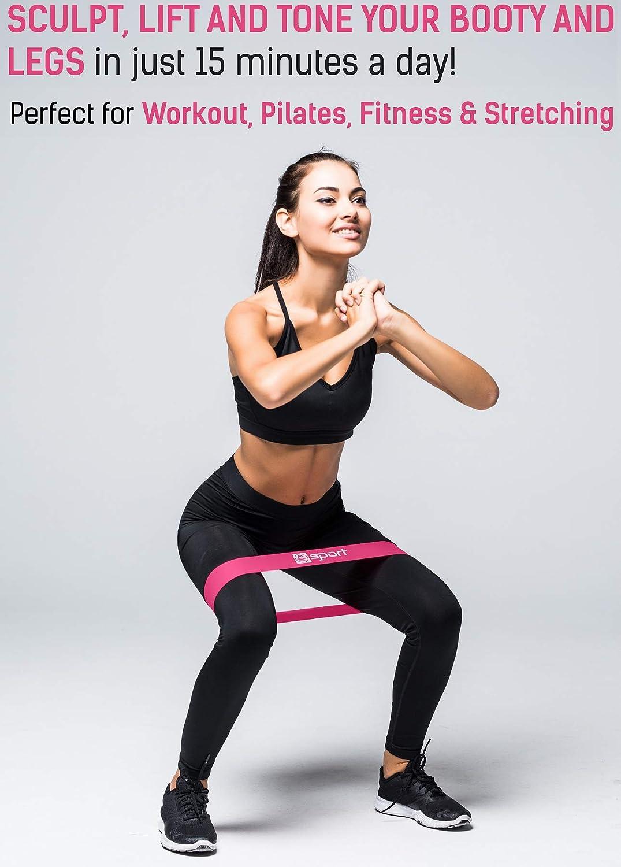 M MAUI RINGS Fitnessb/änder Set aus 5 B/ändern Widerstands B/änder 5er Set Loop Band mit Anleitung und Tragebeutel Terra Band /Übungsband f/ür Muskelaufbau Booty Band Po Training Fitnessband Beine
