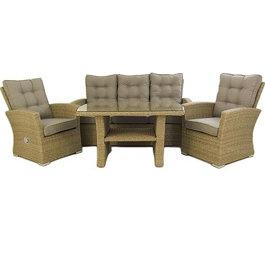 Edenjardi Conjunto sofás de Exterior, Mesa Centro 120 cm, 2 butacas y 1 sofá 3 plazas, Color Natural, Aluminio y rattán sintético, 5 plazas