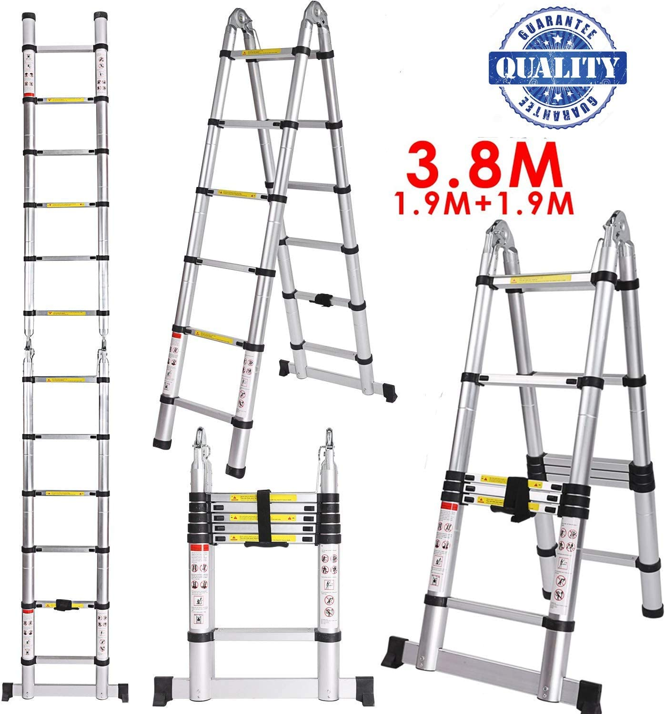 Fiugsed - Escalera plegable telescópica (8 x 8 peldaños con goma antideslizante, juntas de acero de seguridad, 150 kg, escalera polivalente, extensible, 5 m, 2,5 + 2,5 m), blanco: Amazon.es: Bricolaje y herramientas
