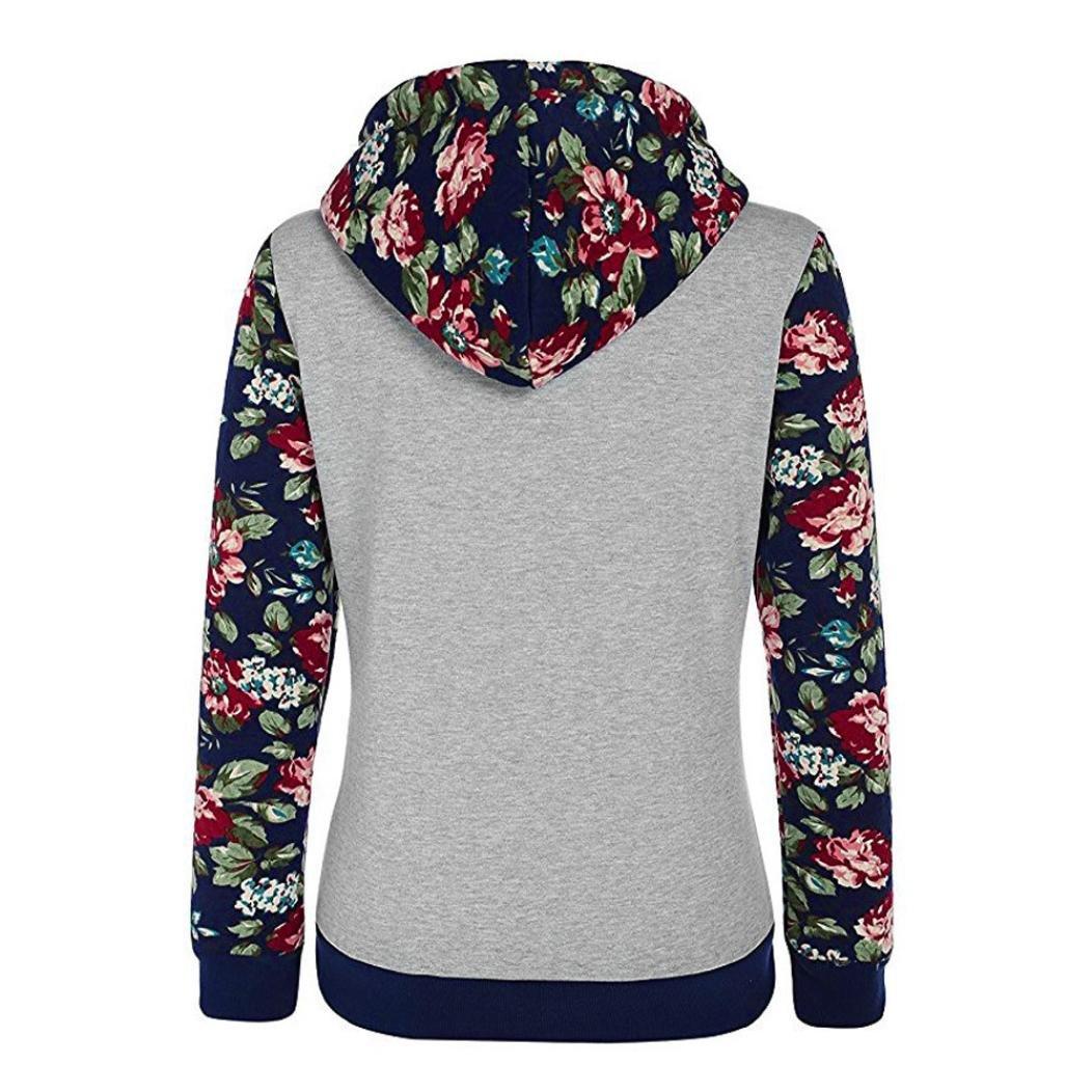 Elecenty Blumen Drucken Kapuzenpullover Damen Tasche Hemden Mode Tops Pulli Frauen Blusen Kapuzenpullis mit Kapuze Hemd Pullover Mantel Sweater