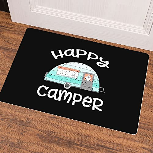 Ruiyida Mats Happy Camper Retro Trailer RV Caravan Camping Doormat Entrance Floor Mat Funny Doormat Door Mat Decorative Indoor Outdoor Doormat Non-Woven 23.6 by 15.7 Inch Machine Washable Fabric Top