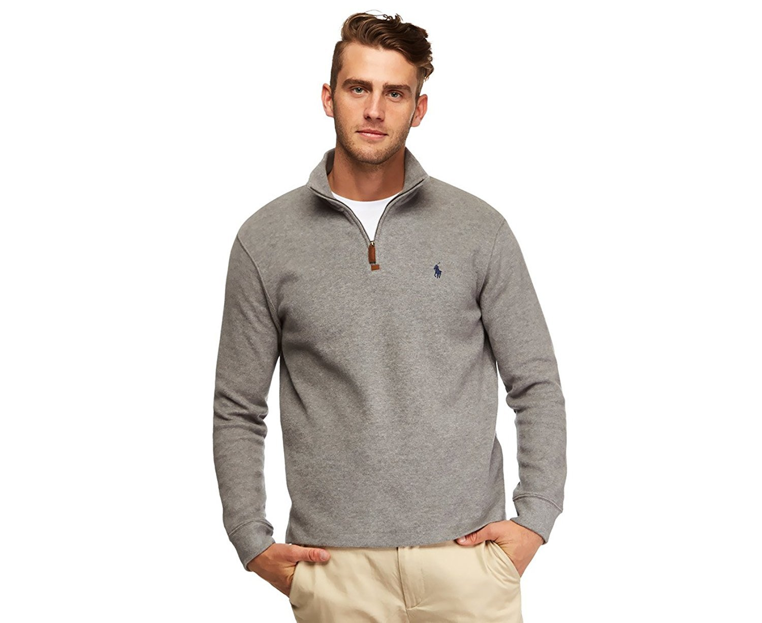 RALPH LAUREN Polo Men's Half Zip French Rib Cotton Sweater (X-Large, Light Grey)