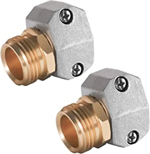 Hourleey Garden Hose Repair Fittings, Zinc and Aluminum Male Hose End Water Hose Repair Connector, 2 Pack