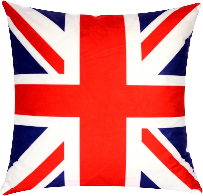 Bullahshah Bandera británica Union Jack Print Azul rojo 17 x 17 pulgadas Funda de cojín para sofá cama Sofá: Amazon.es: Ropa y accesorios
