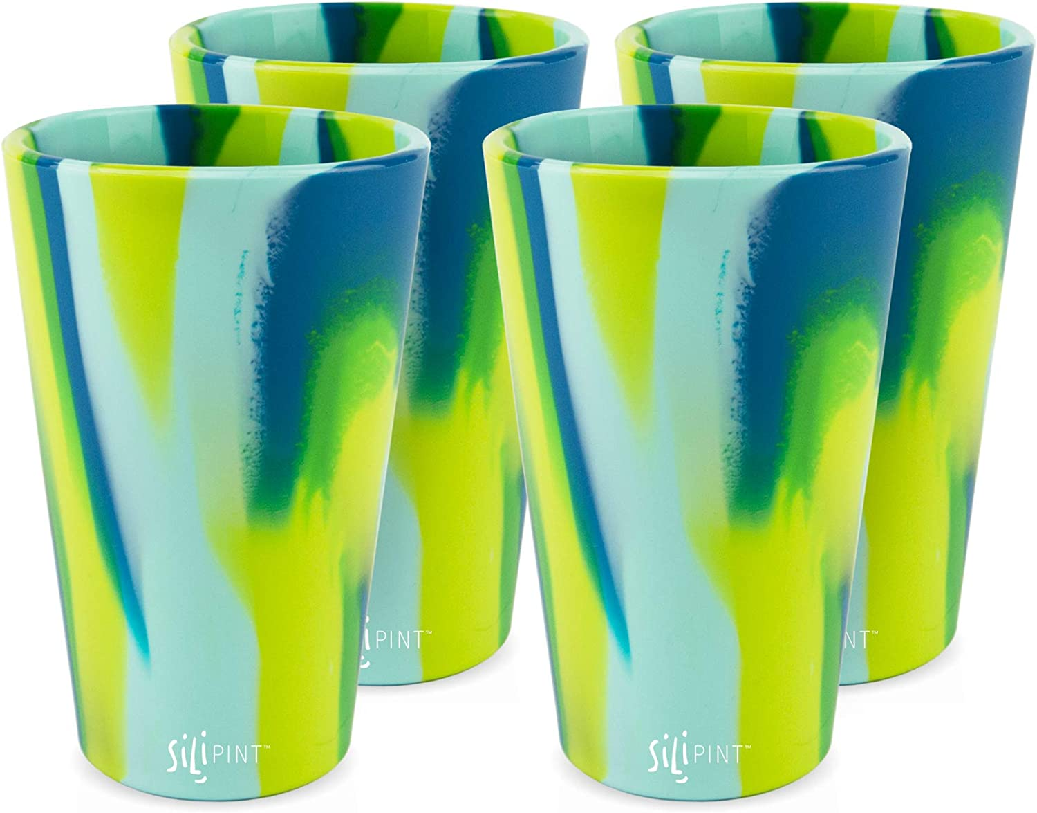 Patented Unbreakable Silicone Cup Drinkware Silipint Silicone Pint Glass Set 4-Pack, Bouncy Black Shatter-proof