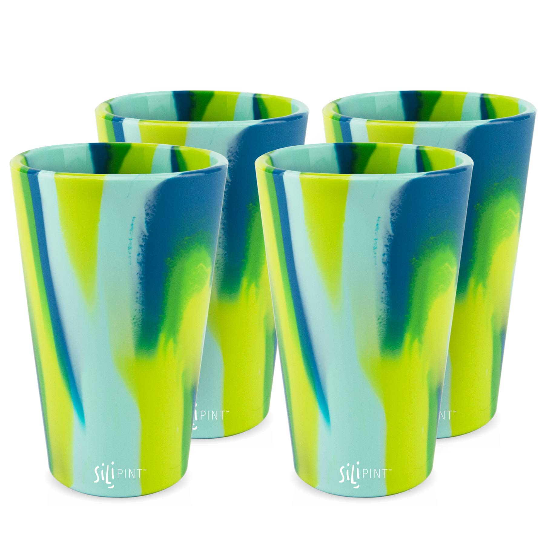 Silipint Silicone Pint Glass Set, Patented, BPA-Free, Shatter-proof, Unbreakable Silicone Cup Drinkware (4-Pack Sea Swirl) by Silipint