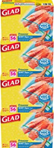 Glad Zipper Freezer Storage Plastic Bags - Quart - 56 Count - Pack of 4