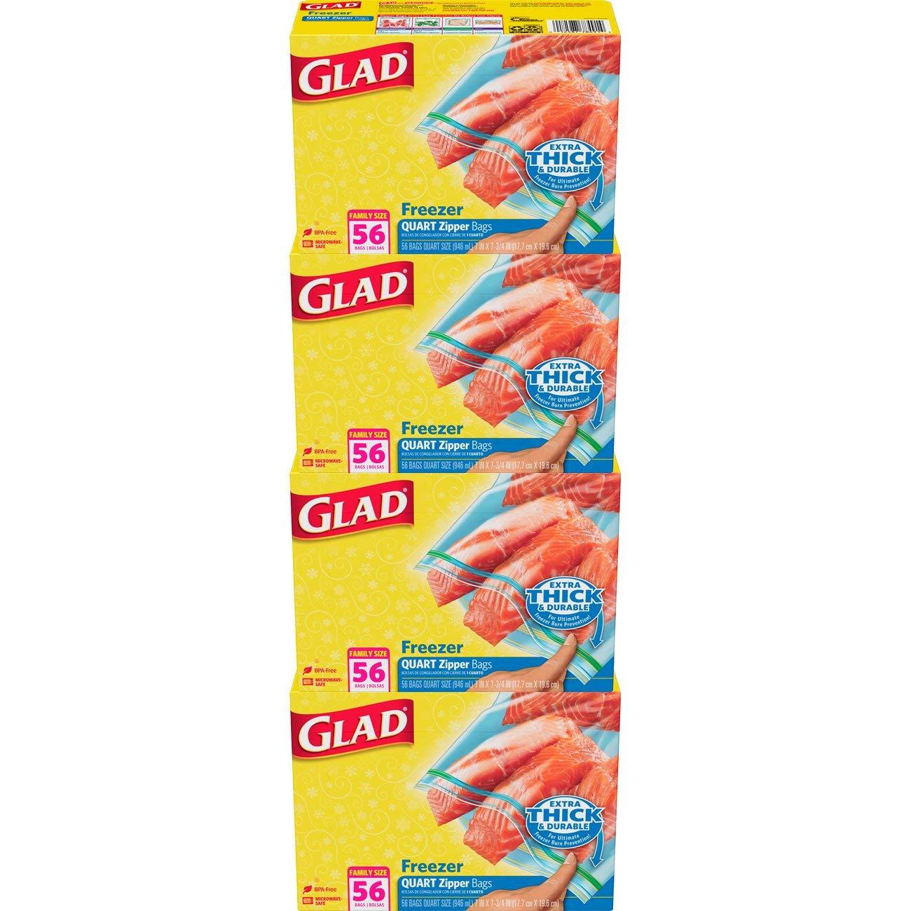 Glad Zipper Food Storage Freezer Bags - Quart - 56 Count - 4 Pack