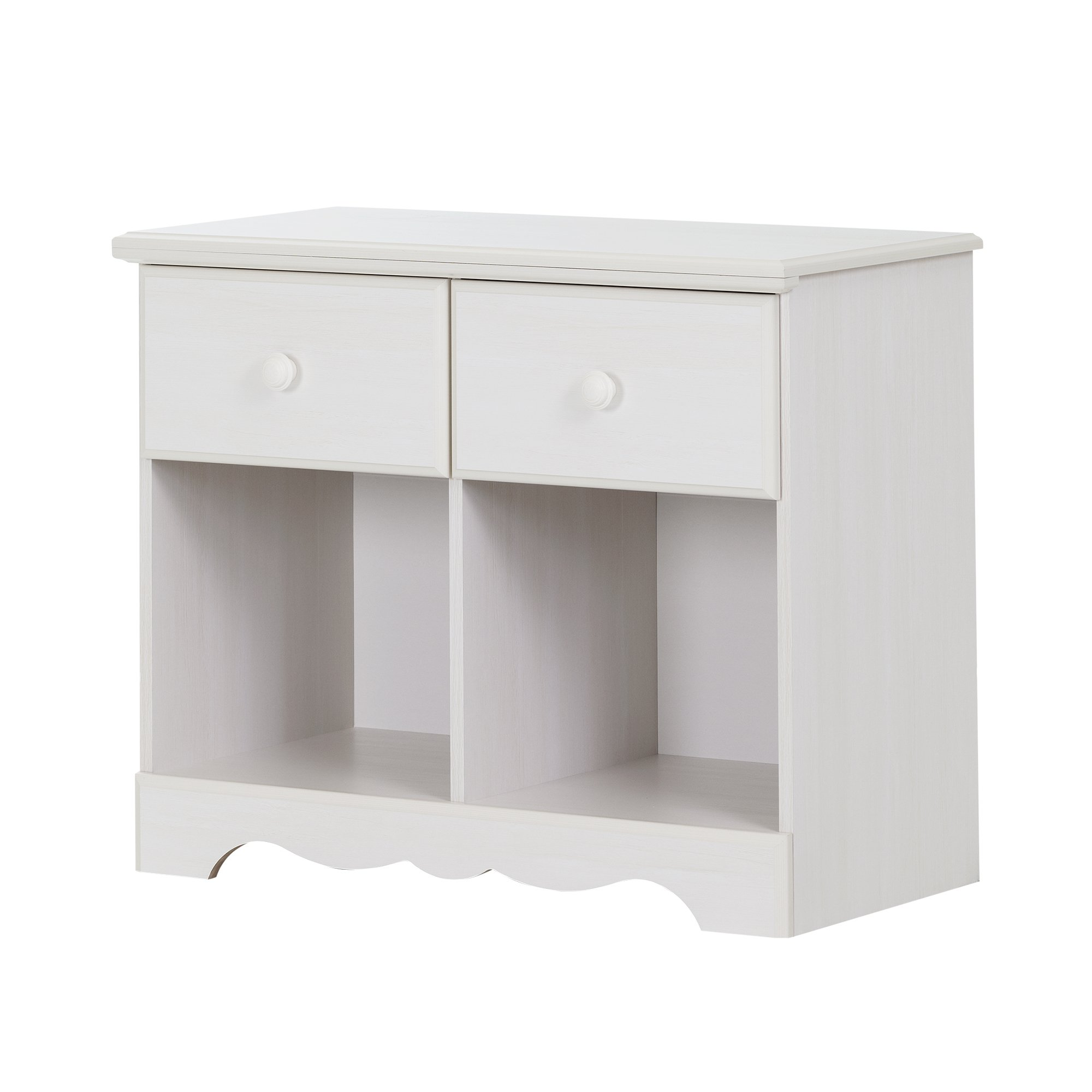 South Shore Summer Breeze 2-Drawer Double Nightstand, White Wash