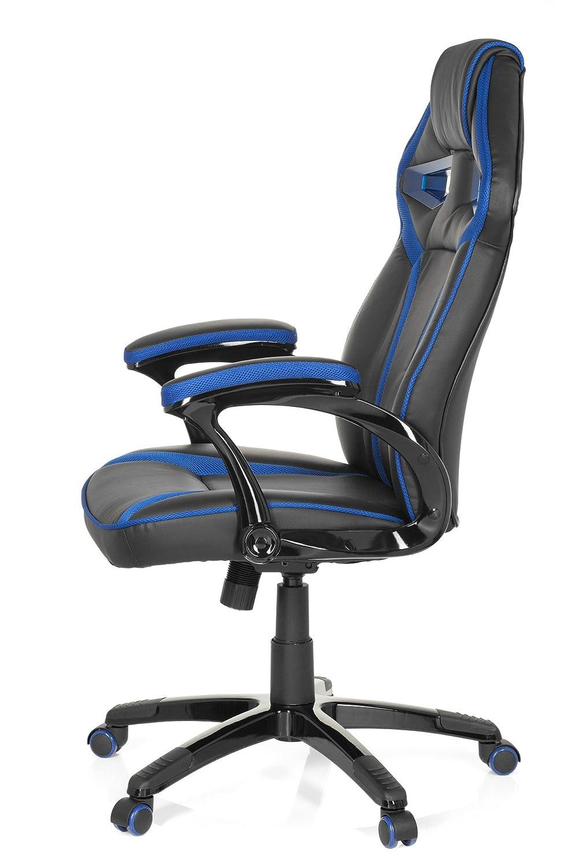 HJH kontorsskyddsspel och kontorsstol – PU-läder Modern 49.00x60.00x126.00 cm Svart och grönt Svart och blå