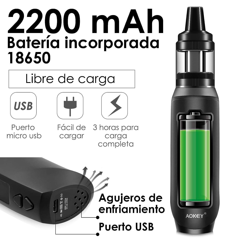 Vaper Cigarrillos Electronicos 85W 3pcs 0.3ohm/0.6ohm Resistencia 2200mah Built-in Batería Top Refill Vaporizador Cigarros Electronicos AOKEY E ...