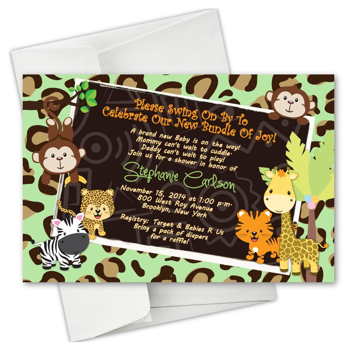 Cheetah Monkey Safari Animal Baby Shower Birthday Party Invitations