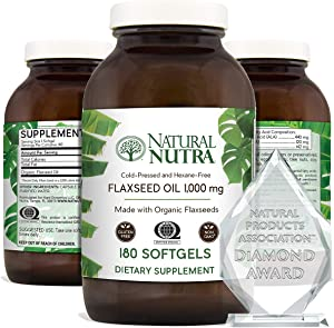 Natural Nutra Organic Flaxseed Oil Softgels, Plant Based Omega 3 6 9, Hair Growth, Weight Loss Support, Immune System, Cardiovascular Health Supplement, Flush Harmful Toxins, 1000 mg, 180 Capsules