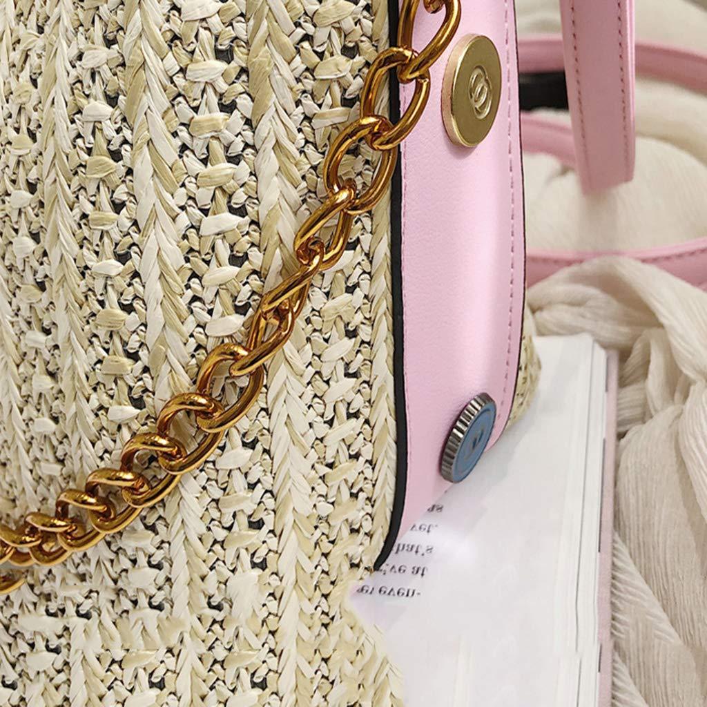 YVIVFHPWXF Damväska Ms. paket kvinnors halmväska sommar enkel mode strand semester vind rotting hand axel axel axel hängande påse kvinna vit