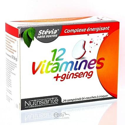 NUTRISANTE - Vitaminas ginseng 24 + 12 Nutrisanté masticable