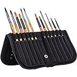 MEEDEN 11 X 10.5 Inch Mesh Paint Brushes Case Zippered Brush Holder, Short Handle, Black
