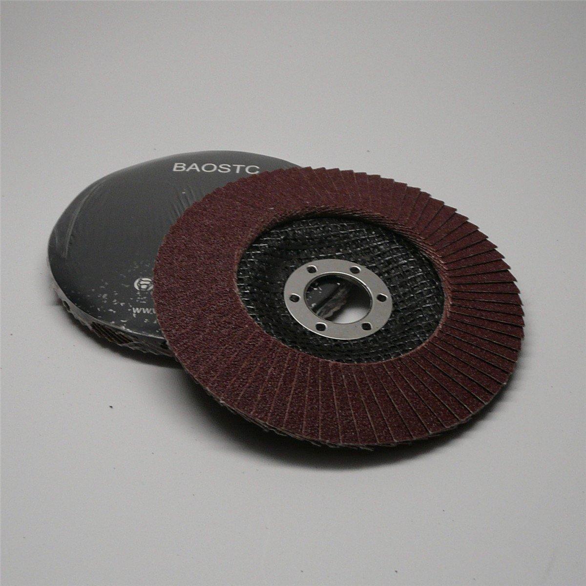 BAOSTC 5'' P120 aluminum oxide flap disc grinding wheels for angle grinder 5PACK